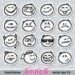 Stock Vector: Set of smiles