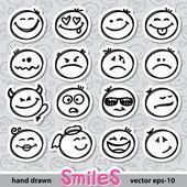 Gülümsüyor kümesi — Stok Vektör