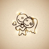 Wedding couple, vector eps 10 — Vettoriale Stock