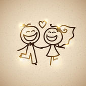 Wedding couple, vector eps 10 — Stockvektor