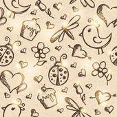Romantic seamless pattern, vector eps 10 — ストックベクタ