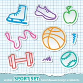 Hand drawn sport stickers, vector eps 10 — Stok Vektör