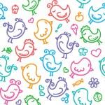 Hand drawn birds pattern — Stock Vector