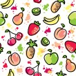 Stock Vector: Hand drawn fruits pattern