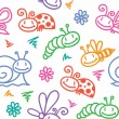 Hand drawn pattern with insects — Stock Vector #23072200