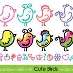 Hand drawn birds — Stock Vector