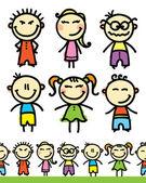 çocuklar bir dizi — Stok Vektör