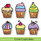 Cupcakes set — Stock Vector