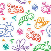 Hand drawn pattern with insects — Stock Vector
