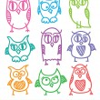 Hand drawn owls — Stok Vektör