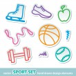 Hand drawn sport stickers — Imagen vectorial