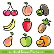 Stock Vector: Hand drawn fruits