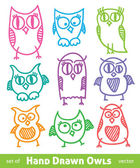 Hand drawn owls — Stock Vector