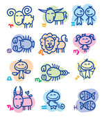 Hand drawn zodiac signs — Stock Vector