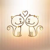 Kočky pár — Stock vektor