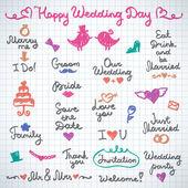 Wedding letterings — Stock Vector