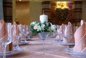 Table setting for wedding dinner — Stock Photo