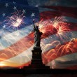 Постер, плакат: Independence day Liberty enlightening the world