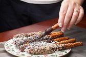 Chocolate Covered Pretzels — Stock Photo