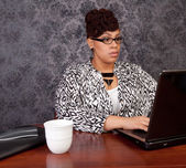 Black woman working from home — Stock Photo