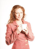 Redhead woman with Coffe Cup — Stock Photo