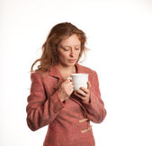 Redhead woman with Coffe Cup — Stockfoto