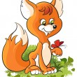 Stock Vector: Cute cartoon childhood young fox