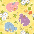 Colorful kids background with the elephants — Stock Vector