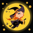 Witch girl and black cat. Halloween backround — Stock Vector