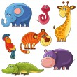 African wild animals set. Elephant, snake, giraffe, parrot, tiger, hippo, crocodille — Stockvectorbeeld