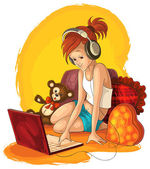 A little girl working and listening music on laptop — Stock Vector