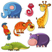 African wild animals set. Elephant, snake, giraffe, parrot, tiger, hippo, crocodille — Stock Vector