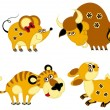 Funny animal chinese horoscope set. Rat, ox, tiger and rabbit — Stock vektor