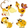 Funny animal chinese horoscope set. Monkey, rooster, dog and pig — ストックベクタ
