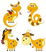 Funny animal chinese horoscope set. Dragon, snake, horse and goat — Stock Vector