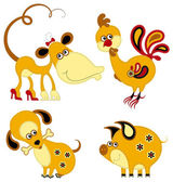 Funny animal chinese horoscope set. Monkey, rooster, dog and pig — Stock Vector