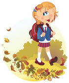 Cute little girl with backpack goes to school — Stock Vector