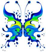 Zelená modrý motýl blot — Stock vektor