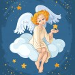 Cute angel girl with star sitting on a cloud. Christmas holiday theme — Stock Vector