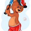 Stock Vector: Cartoon baseball player baby bear