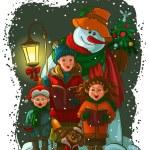 coro de Navidad. cantantes de villancicos — Vector de stock