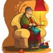 Wektor stockowy : Grandmother sitting in armchair and knitting. A lifestyle, house and family theme