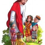 İsa ve çocuklar üzerinde beyaz izole — Stok Vektör #29586331