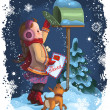 Little girl and her puppy posting a letter to Santa. Christmas holiday vector illustration — Stockvektor