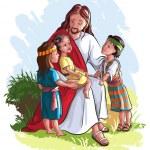 İsa ve çocuklar üzerinde beyaz izole — Stok Vektör #29586353