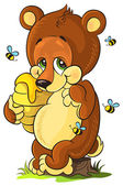 Cute cartoon bear cub with honey and bees — Stock Vector