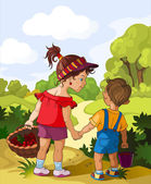 Children walking in the forest. Vacation theme, lifestyle concept, summer season — Stock Vector