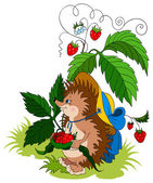 Cartoon baby hedgehog with strawberry. Vector art illustration — Cтоковый вектор