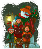 Christmas choir. Carol singers — Stock Vector