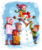 Winter games, children and snowman. Christmas holiday and winter theme — Stock Vector